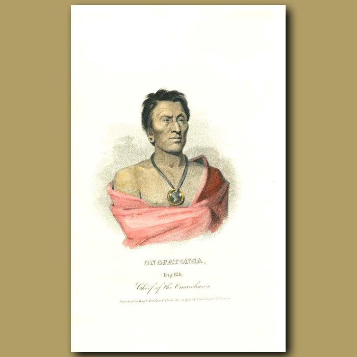 Antique print. Ongpatonga (Big Elk) Chief of the Omawhaws
