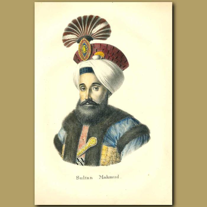 Antique print. Sultan Mahmud