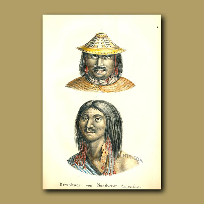 Antique print. Inhabitants of North West America