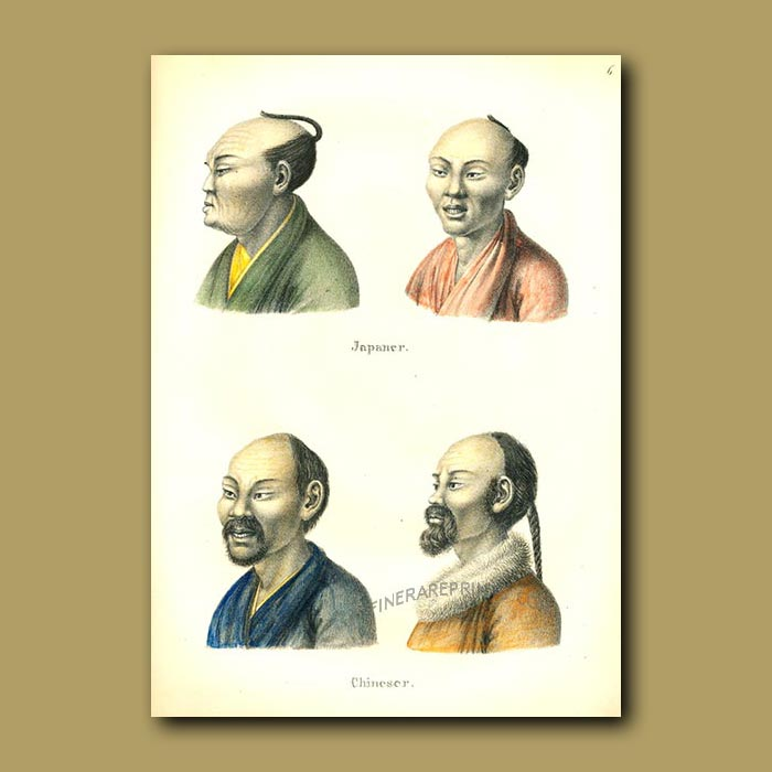 Antique print. Japanese and Chinese men