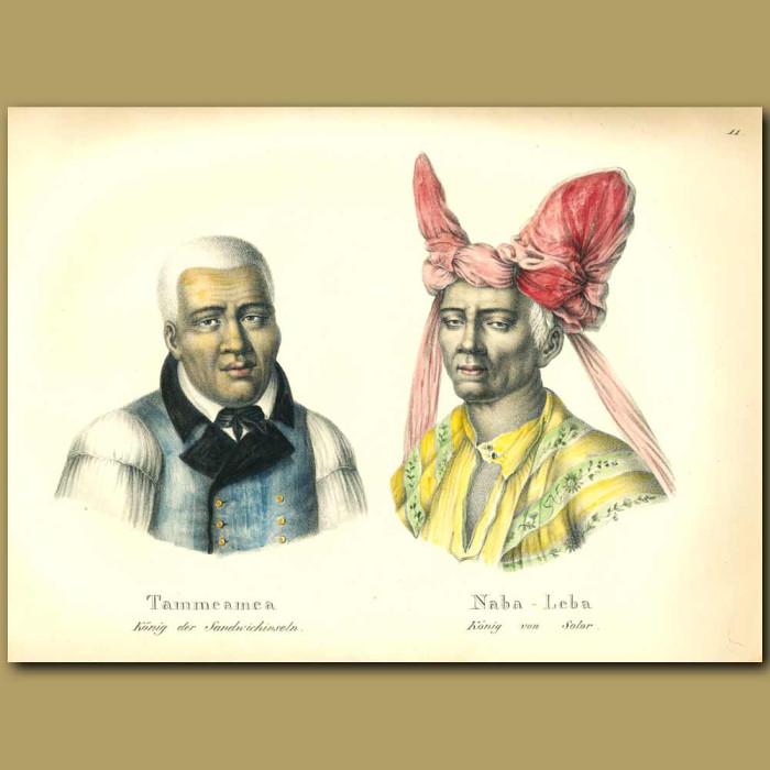 Antique print. Tammeamea  King of the Sandwich Islands (Hawaii)