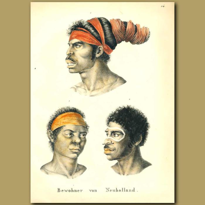 Antique print. Inhabitants of New Holland