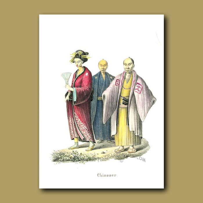 Antique print. Chinese lady and gentlemen