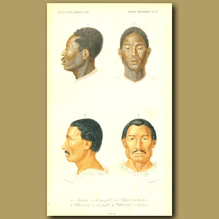 Antique print. African And Mexican People