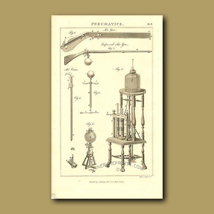 Antique print. Pneumatics