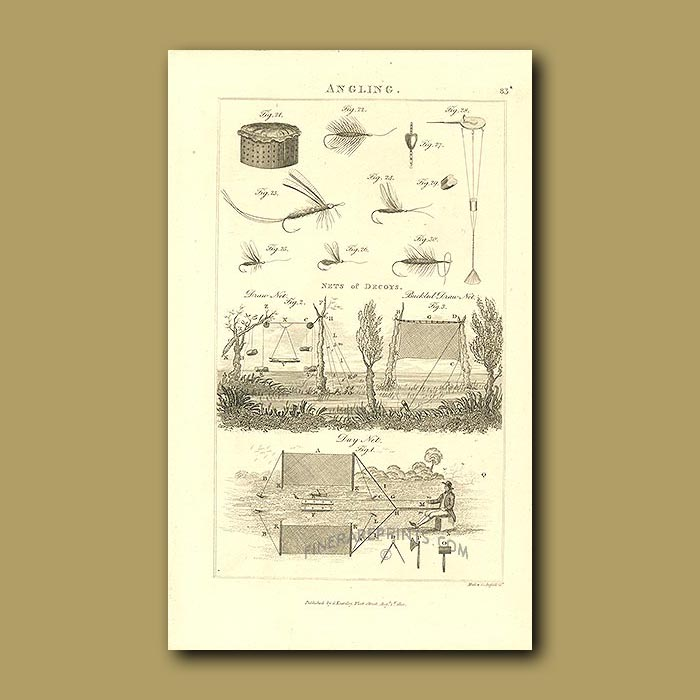 Antique print. Angling