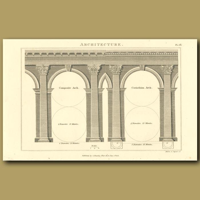 Antique print. Architecture: Arches