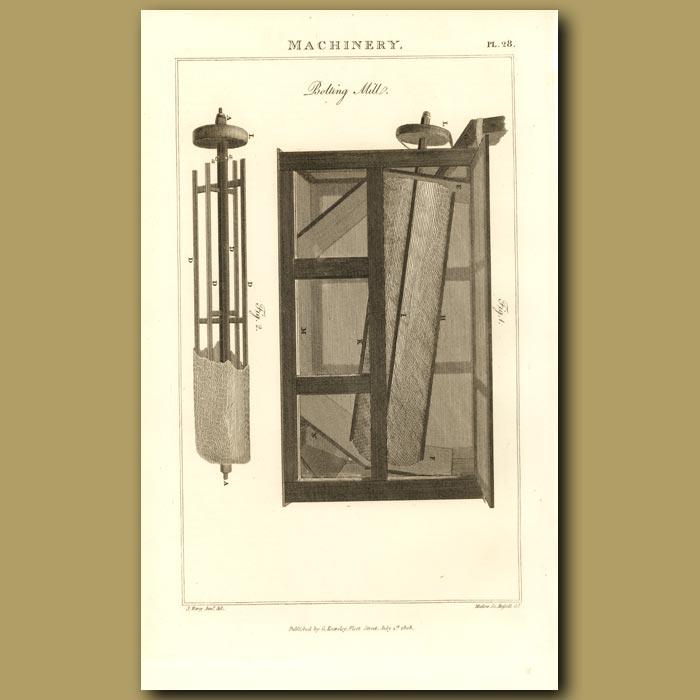 Antique print. Bolt Mill Machine