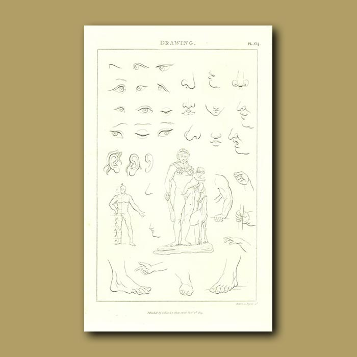 Antique print. Drawing People