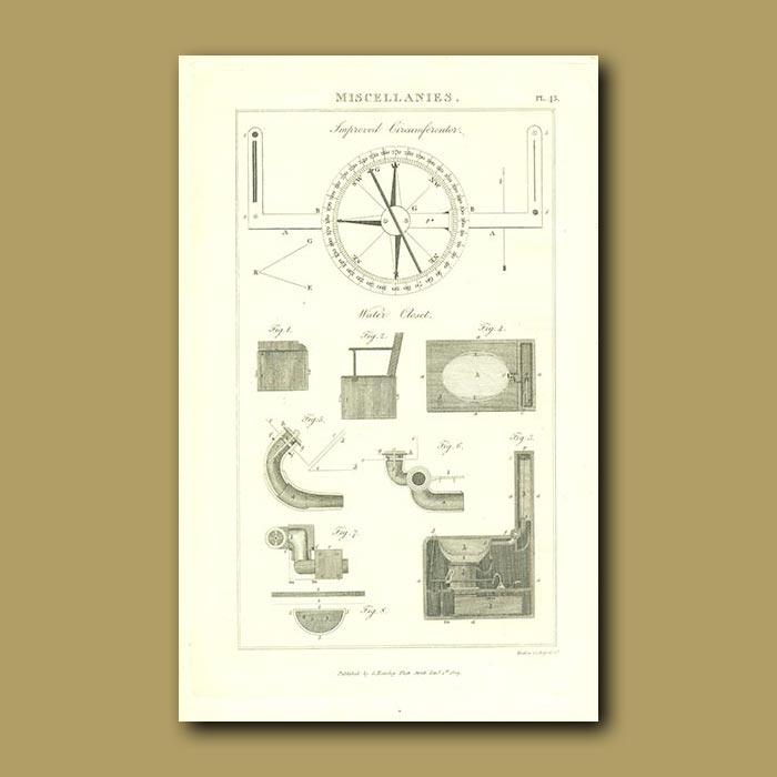 Antique print. Water Closet