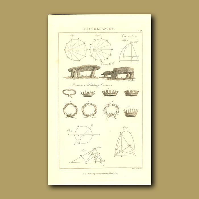 Antique print. Roman Military Crowns