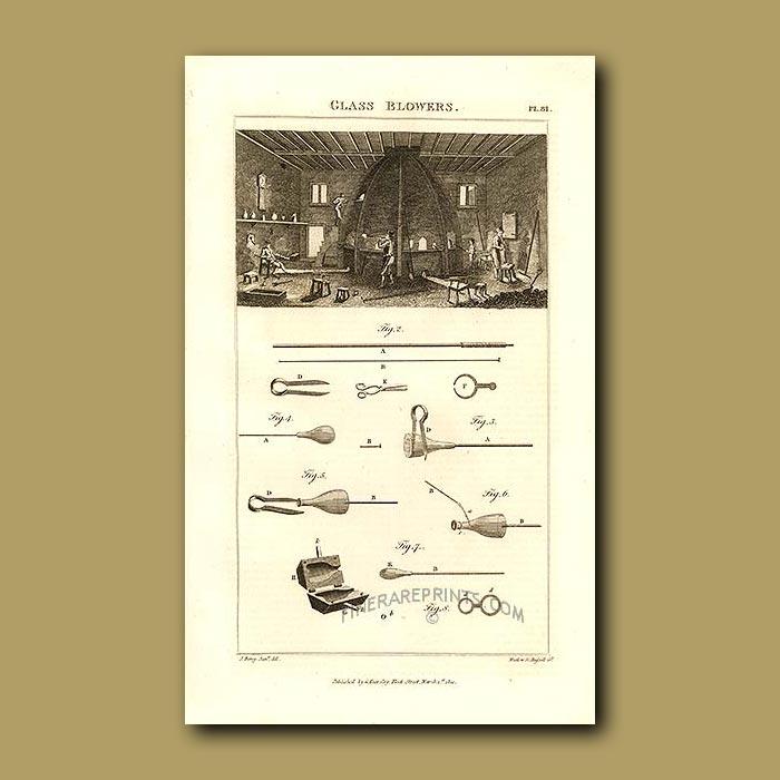 Antique print. Glass Blowers