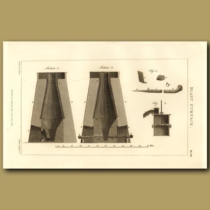 Antique print. Blast Furnace