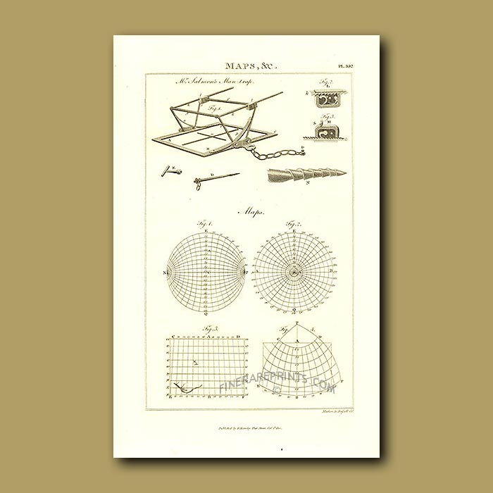 Antique print. Man-trap and Maps