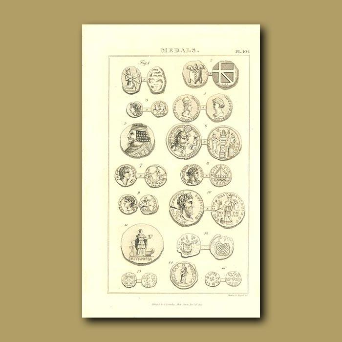 Antique print. Medals