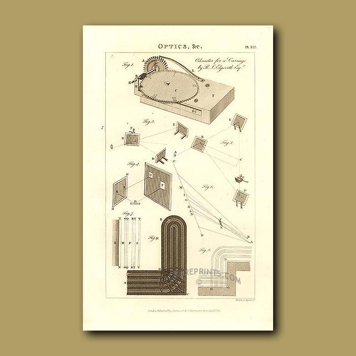 Antique print. Optics and Odometer