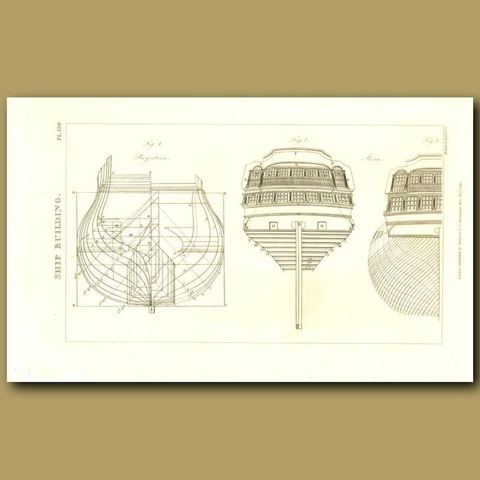 Antique print. Ship Building
