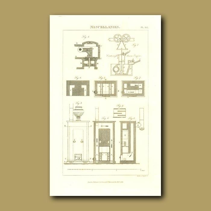 Antique print. Steam Engine