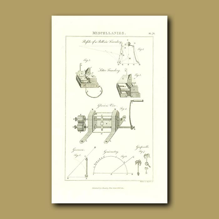 Antique print. Bell in a Foundry and Glazier's Vice