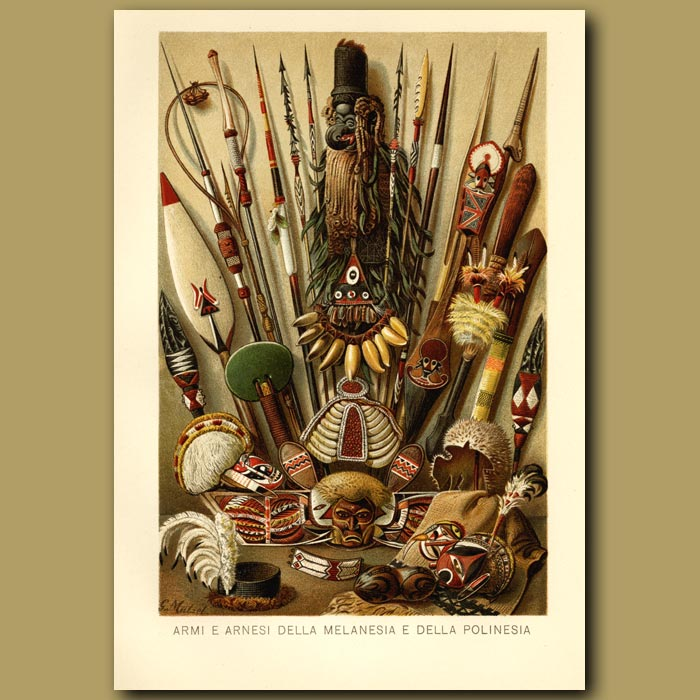 Antique print. Ornaments From Melanesia And Polynesia