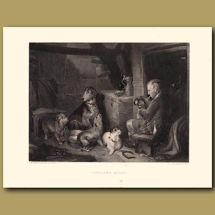 Antique print. Highland Music: Terriers and Hounds