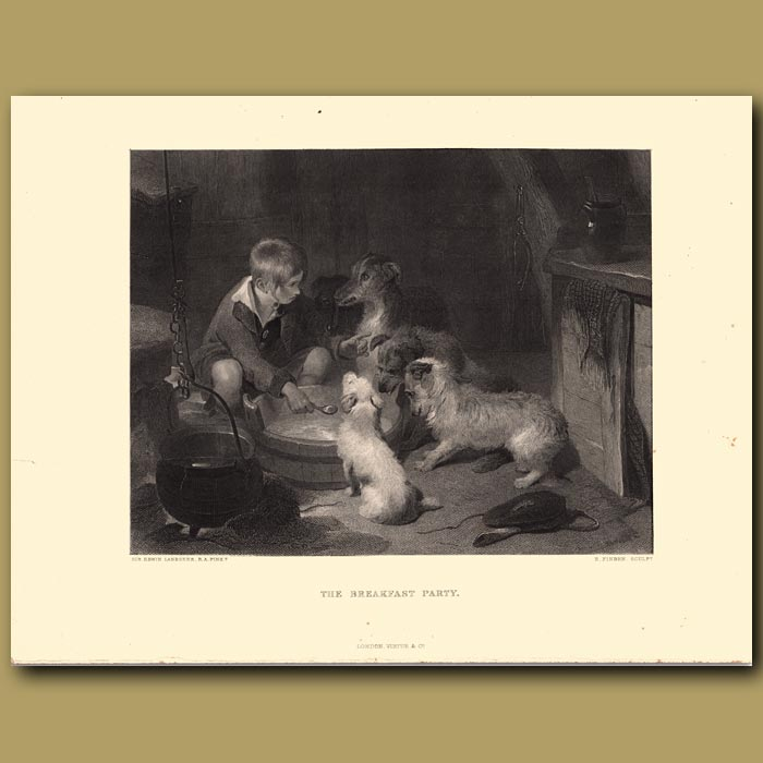 Antique print. The Breakfast Party