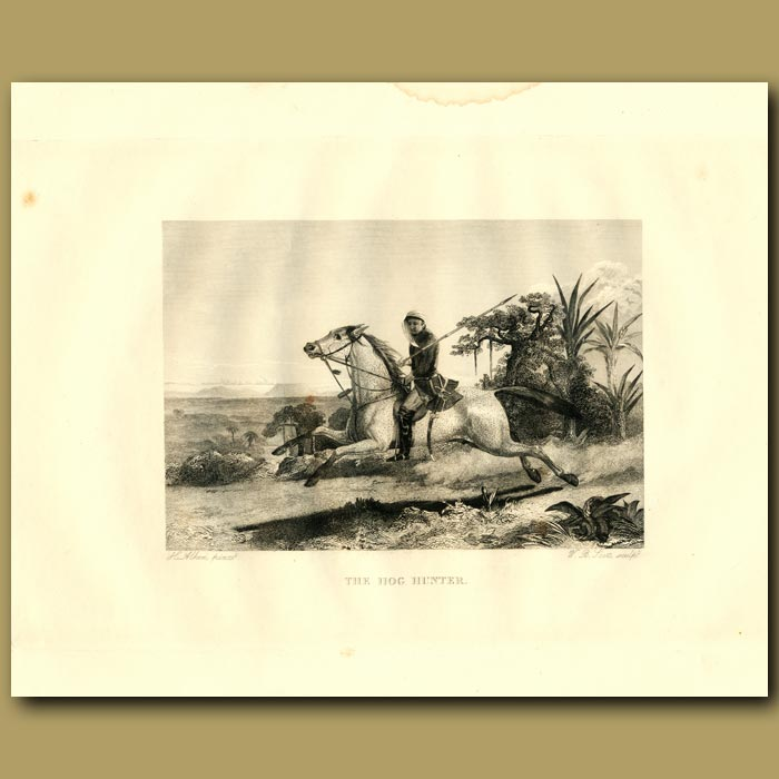 Antique print. The Hog Hunter