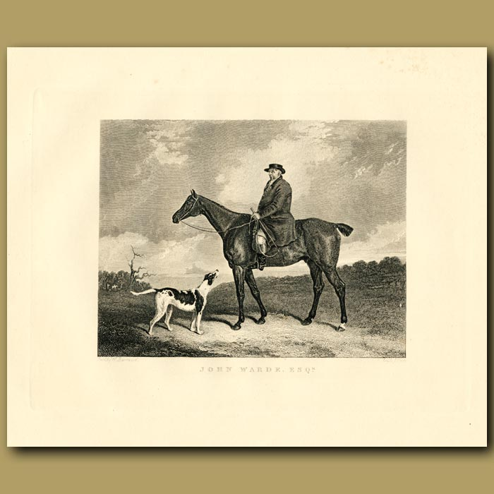 Antique print. Gentleman With Horse And Dog