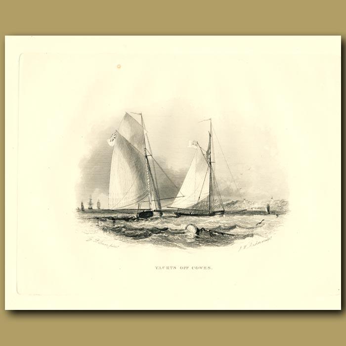 Antique print. Yachts Off Cowes