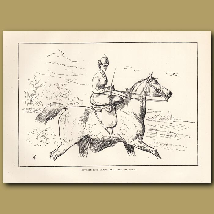 Antique print. between both hands: ready for the field