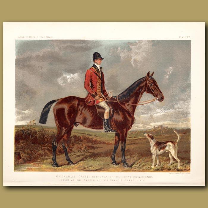 Antique print. Mr Charles Davis, hunstman of the Royal Buckhounds