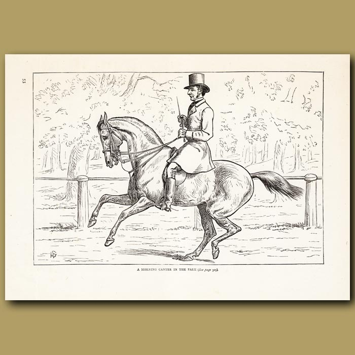 Antique print. A morning canter in the park