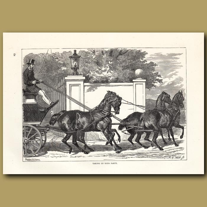Antique print. Taking up your party