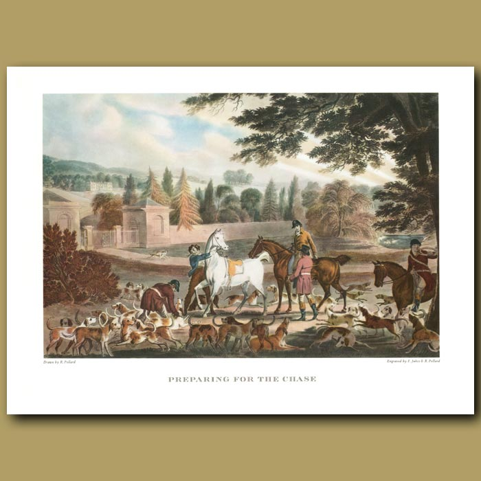 Antique print. Preparing for the Chase