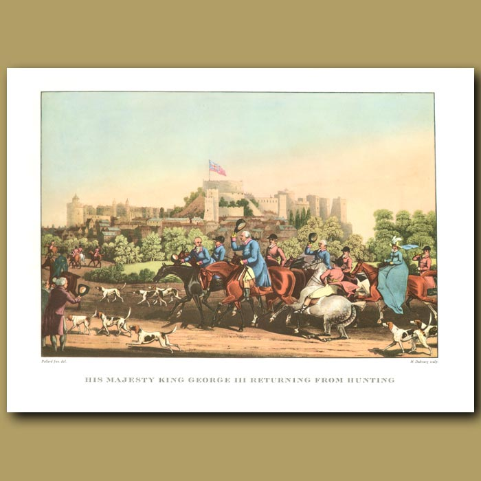 Antique print. His Majesty King George III returning from hunting (Windsor Castle)