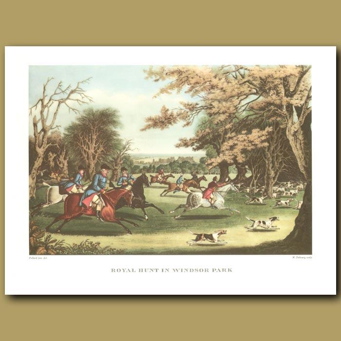 Antique print. Royal Hunt in Windsor Park