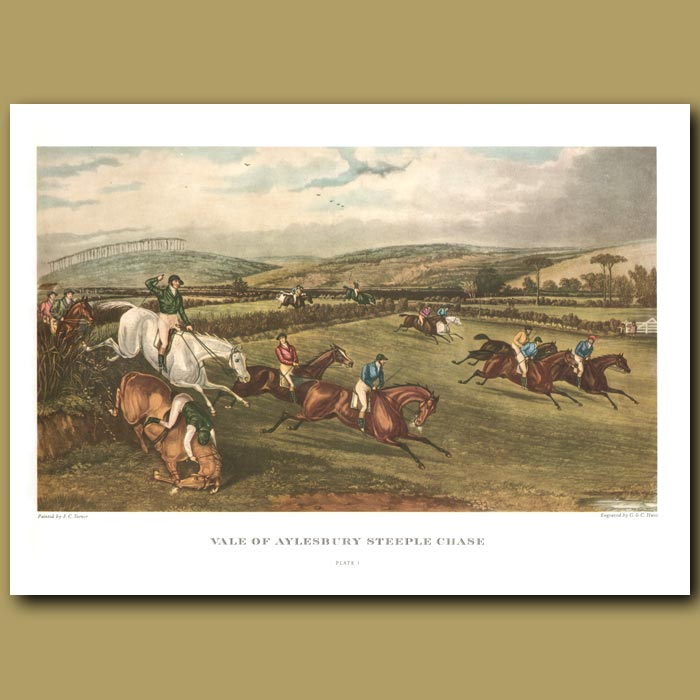 Antique print. Vale of Aylesbury Steeple Chase. Plate 1