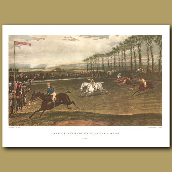 Antique print. Vale of Aylesbury Steeple Chase. Plate 4