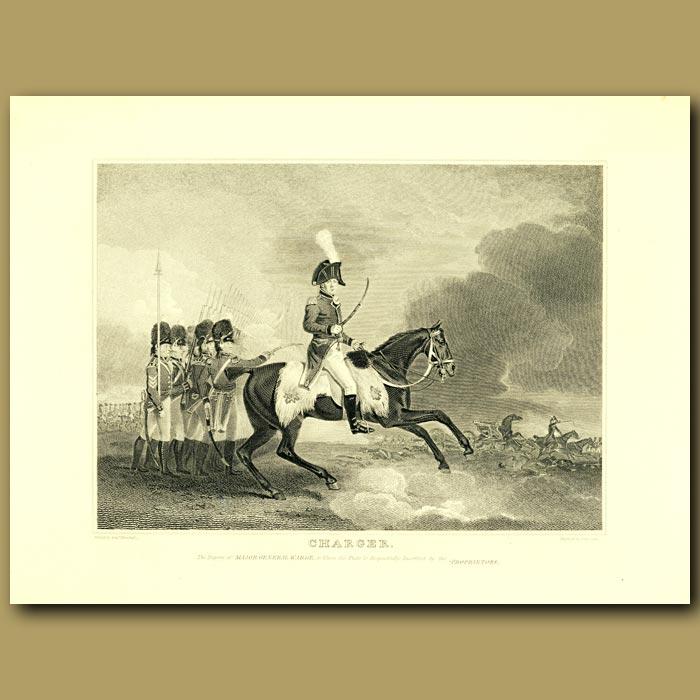 Antique print. Charger Horse