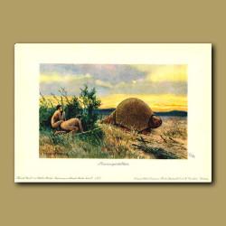 Giant Armadillo with cavemen stalking it