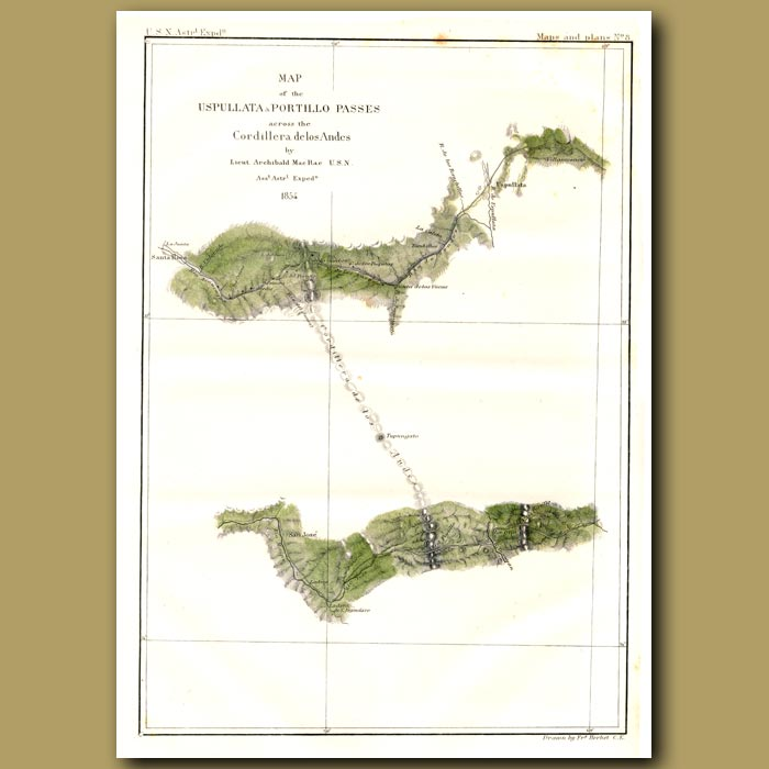 Antique print. Map Of The Uspullata & Portillo Passes In The Andes