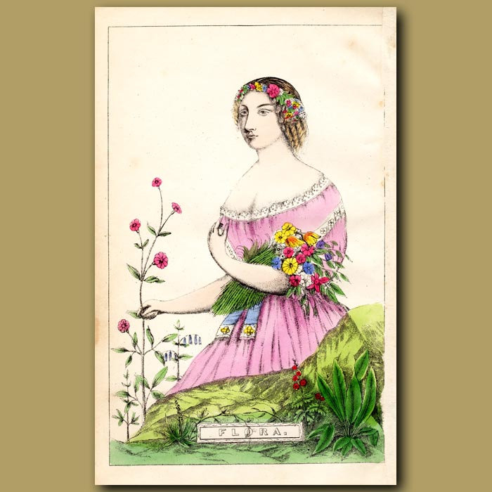 Antique print. Flora, Goddess of Flowers