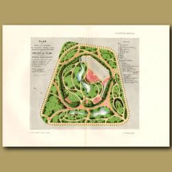 Plan Du Parc Des Glacis De L'ancienne Citadelle A Gand. Created 1875 To 1881
