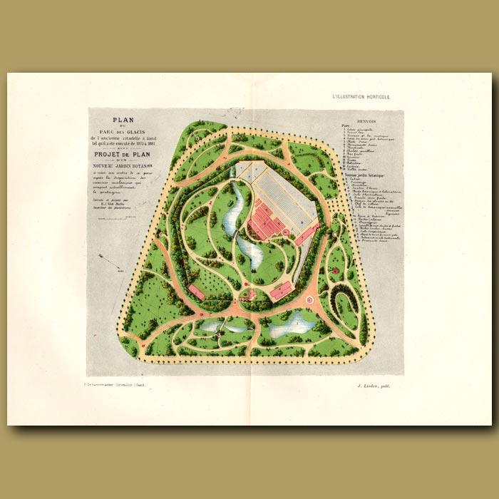 Antique print. Plan Du Parc Des Glacis De L'ancienne Citadelle A Gand. Created 1875 To 1881