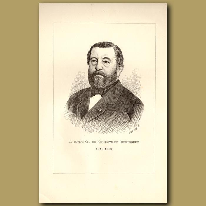 Antique print. Portrait Du Comte Charles Kerchove
