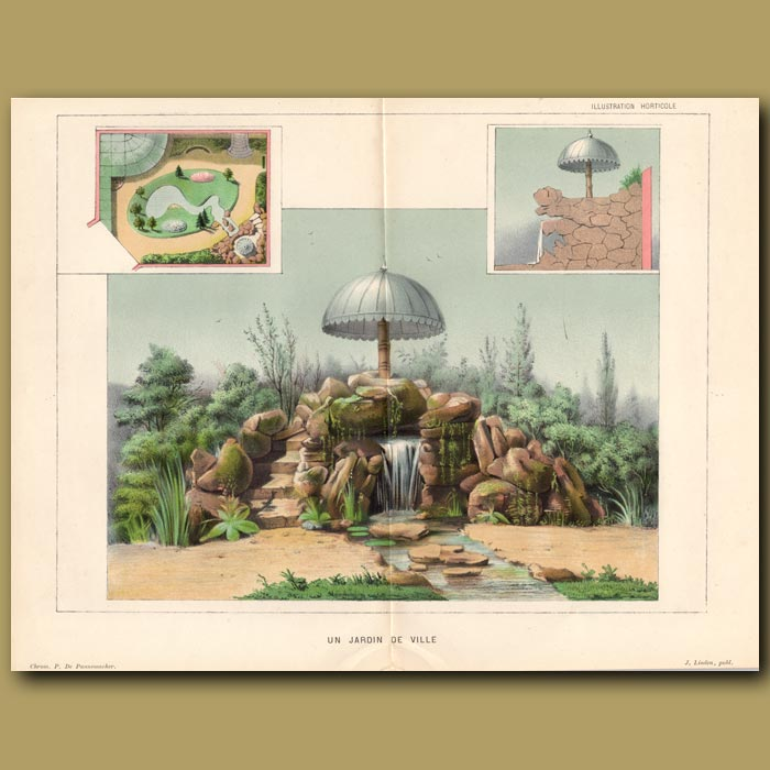 Antique print. French Garden. Un Jardin Du Ville