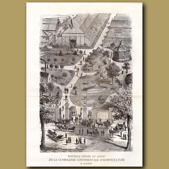 Antique print. La Nouvelle Entree Du Jardin De La Compagnie D'Horticulture A Gand