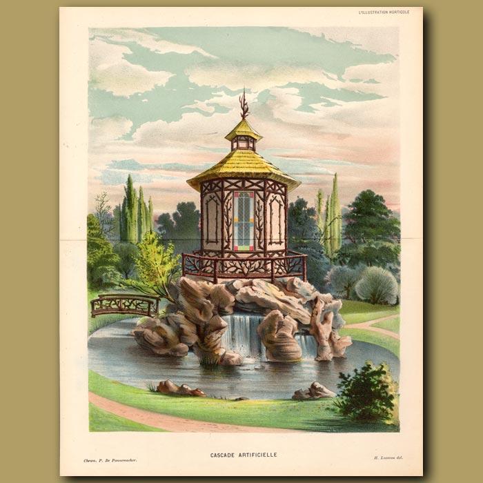 Antique print. Garden Fountain. Cascade Artificielle