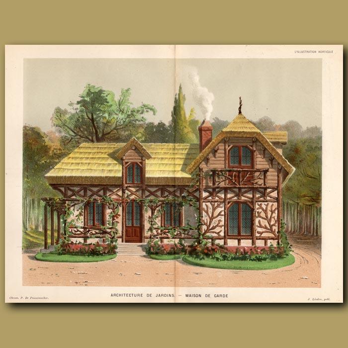 Antique print. Garden Architecture. Architecture De Jardin Maison De Garde