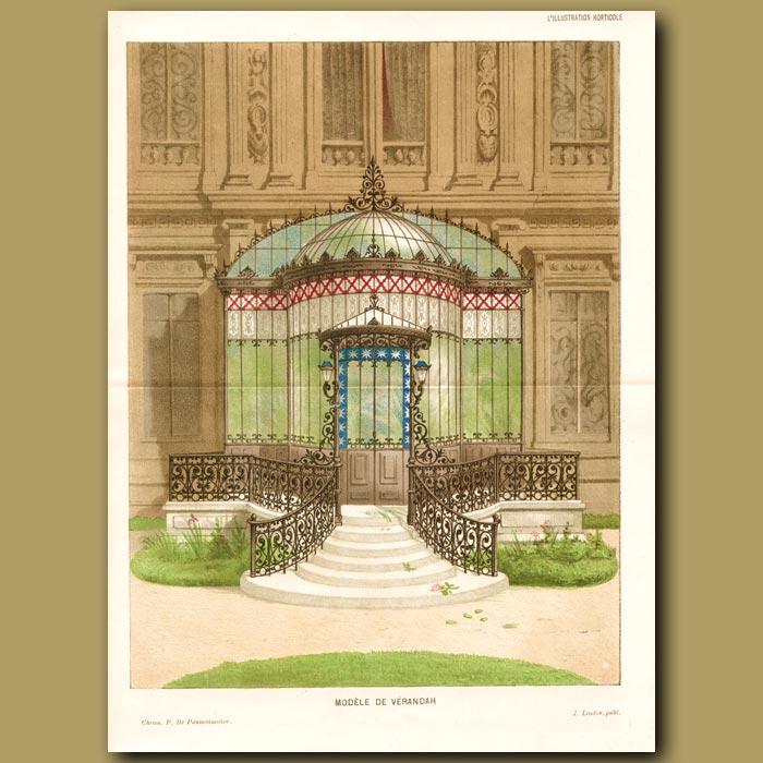 Antique print. Verandah of a French Chateux